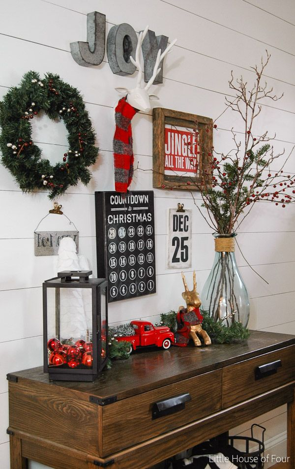 Holiday entryway on a budget