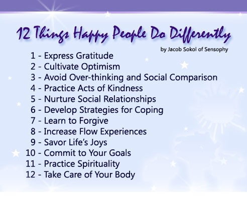 """12 things happy people do differently 2 