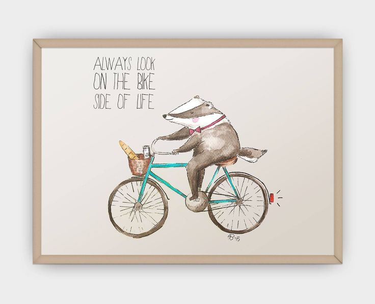 Always look on the bike side of life - badger on a bicycle, watercolor