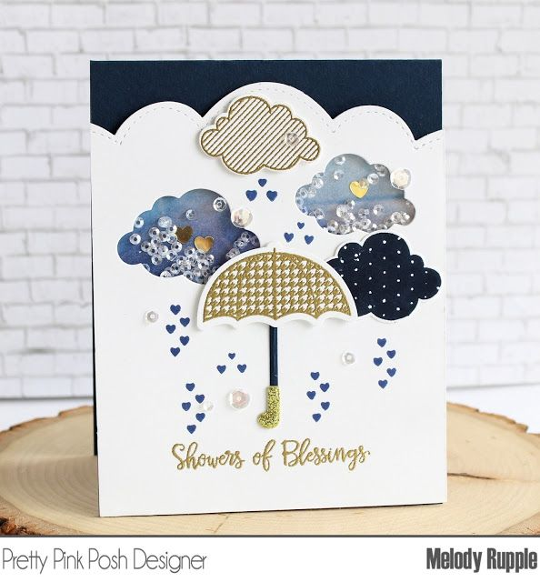 Showers of Blessings Handmade Cards, Shaker Card #sequins #prettypinkposh