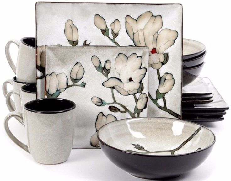 16-Piece Contemporary Dinnerware Set Floral Square Shape Plates Stoneware New #DinnerwareSet