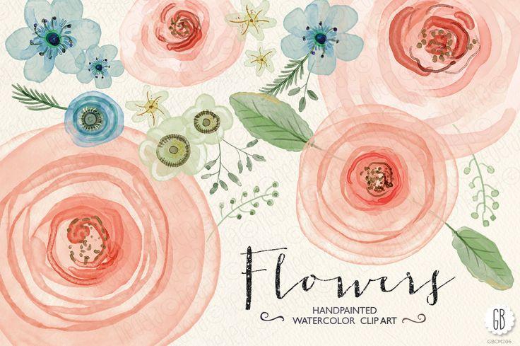 Watercolor flowers, ranunculus, rose - Illustrations - 1