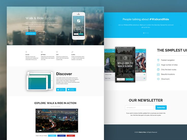 A minimalistic mobile app website template by Pixel Buddha. The responsive HTML5 template can be easily customized to fit any website theme. http://tympanus.net/codrops/2014/09/26/freebie-walk-ride-one-page-website-template/