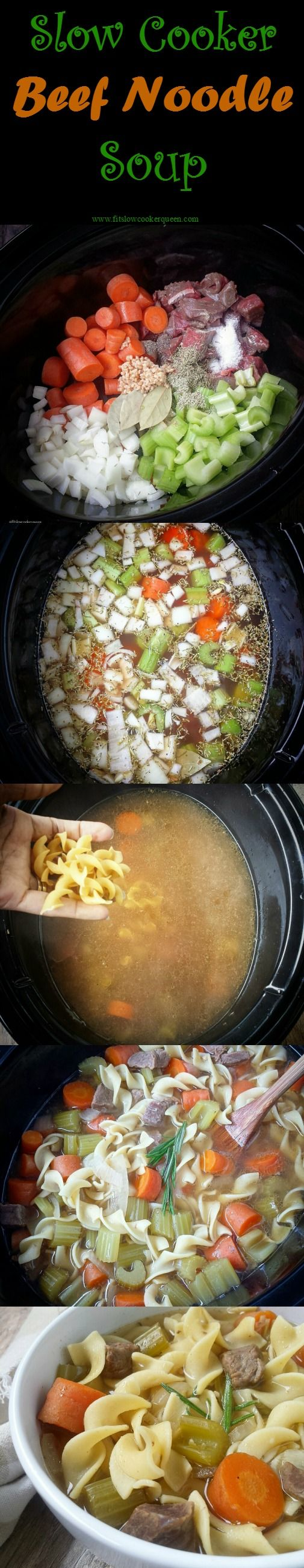 Crockpot / Slow Cooker comfort food - This classic noodle soup recipe made with beef stew meat is the ultimate comfort meal. Cooked in the slow cooker, this is convenient too!