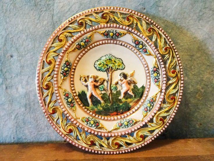 Vintage Midcentury Italian Capodimonte Putti Cherub Angel Garden Ceramic Charger Plate Wall Hanging by MERMAIDSNET on Etsy