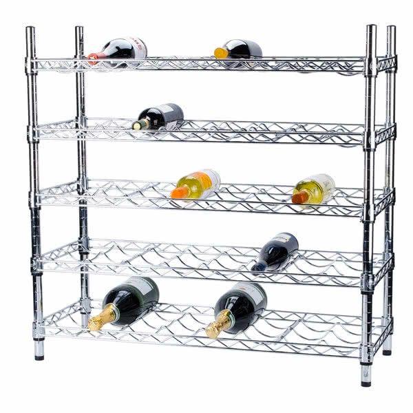"""Regency 14"""" x 36"""" 5 Shelf Wire Wine Rack with 34"""" Posts"""