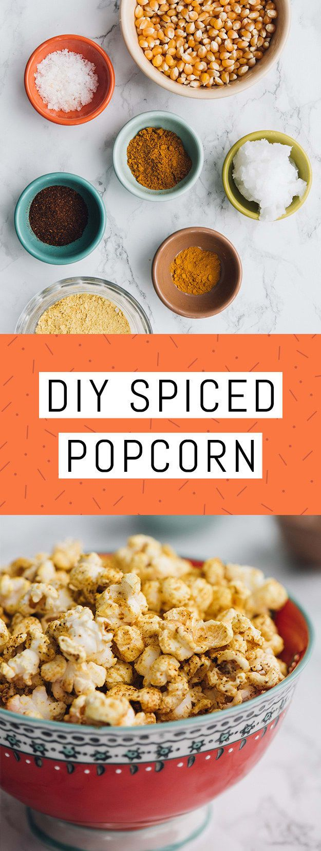 Ingredients: ¼ cup coconut oil, melted; 1 teaspoon chili powder; 1 teaspoon curry powder; ½ teaspoon kosher salt; ¼ teaspoon ground turmeric; ¼ cup nutritional yeast; ½ cup popcorn kernels.To make: In a small bowl combine chili powder, curry powder, salt, turmeric, and nutritional yeast. Set aside. Place 2 tablespoons of coconut oil and three popcorn kernels in a large heavy-bottomed pot over medium heat. Cover with lid and shake every 15 seconds. When all three kernels pop, the pot is hot…