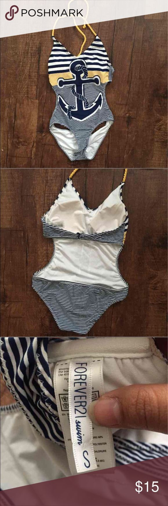 F21 Bathing Suit Anchor bathing suit from F21 NEVER WORN. Sz small Forever 21 Swim One Pieces