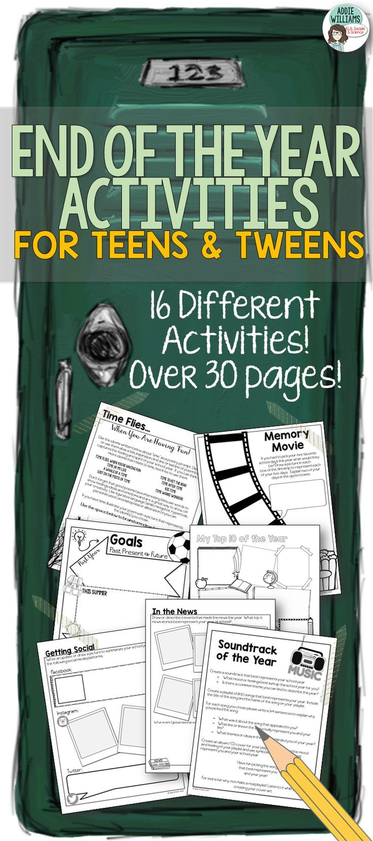 End of the Year Activities for Teens and Tweens! 16 different activities to help you get through the chaos at the end of the year!