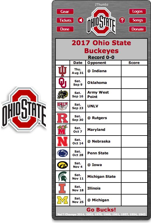 Get your 2017 Ohio State Buckeyes Football Schedule App for Mac OS X - Go Bucks! - National Champions 2014, 2002, 1970, 1968, 1961, 1957, 1954, 1942 Download yours at: http://2thumbzmac.com/teamPages/Ohio_State_Buckeyes.htm