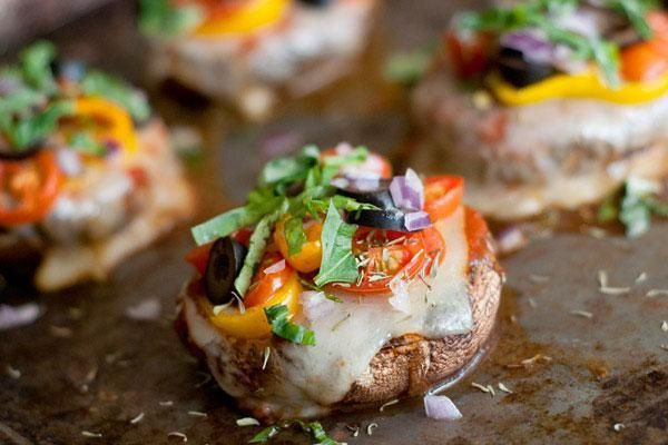 Everyone loves pizza but it's not the healthiest option on the menu until now! Portobello mushrooms replace the pizza crust which is then stuffed with all of our favorite toppings. Never ever feel guilty about eating pizza again.