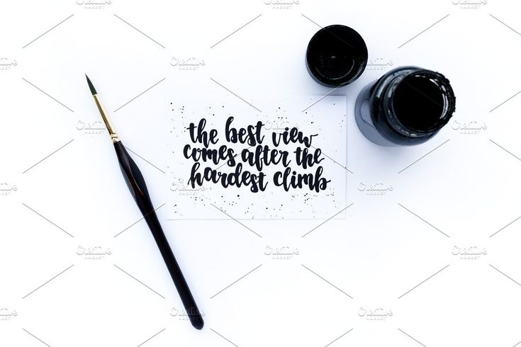 Ink, paint brush, card with quote by rorygez fresh on @creativemarket
