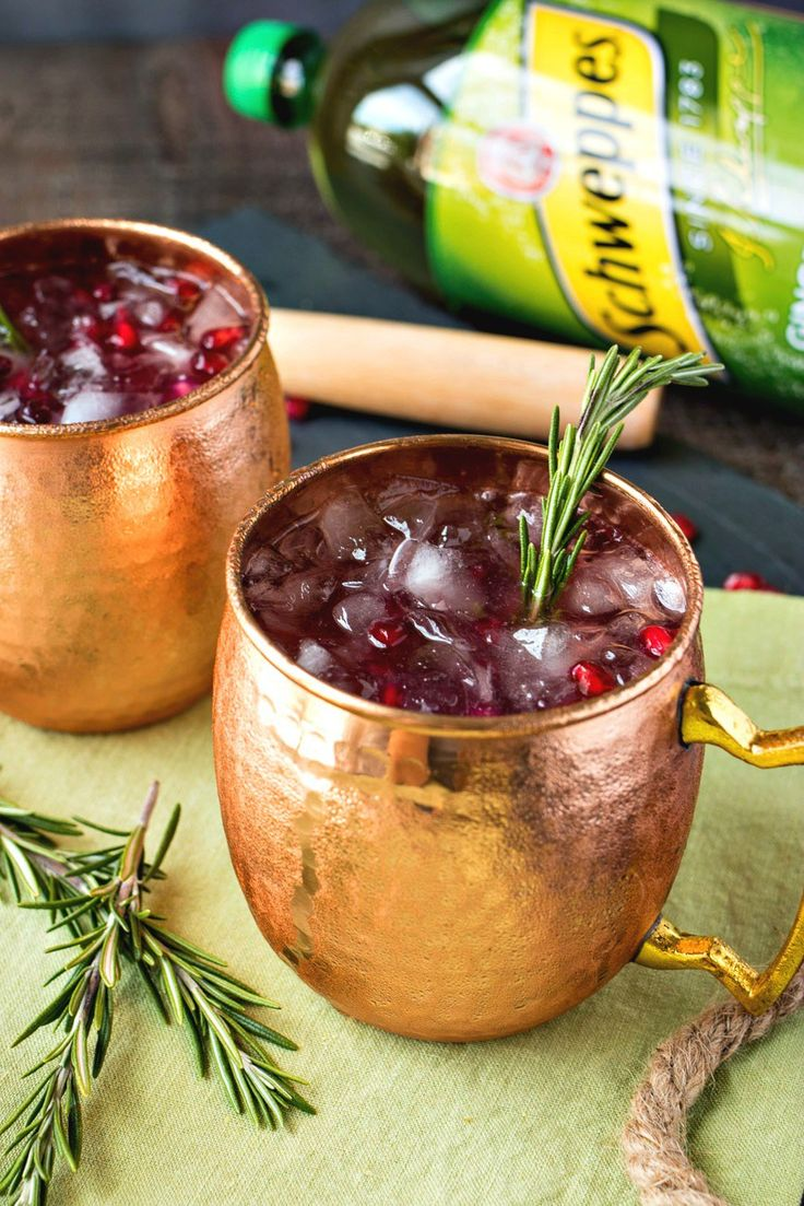 A festive twist on the classic Moscow Mule, made with bruised rosemary, pomegranate juice and Schweppes Ginger Ale