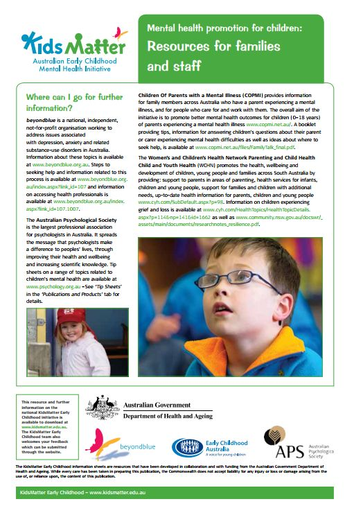 Top Tips: Mental health promotion for children: Resources for families and staff.