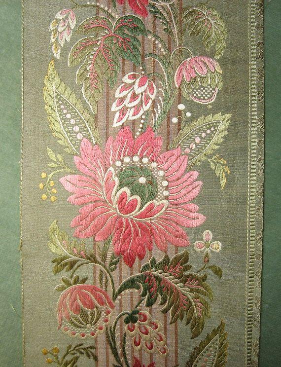 Antique French Silk Damask Woven Ribbon