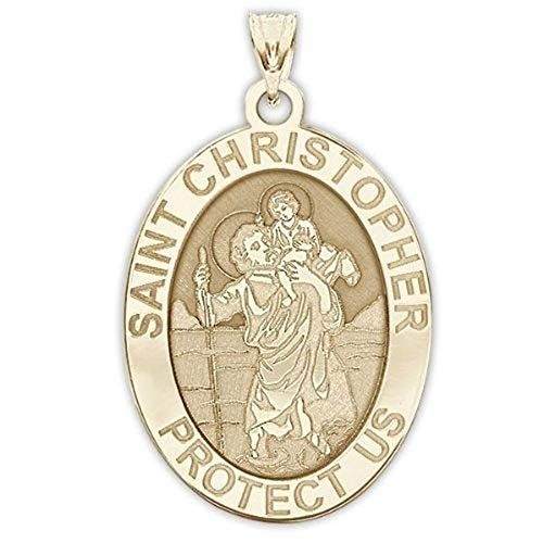 Solid 14K White Gold PicturesOnGold.com Saint Anthony Scalloped Religious Medal 3//4 Inch X 1 Inch