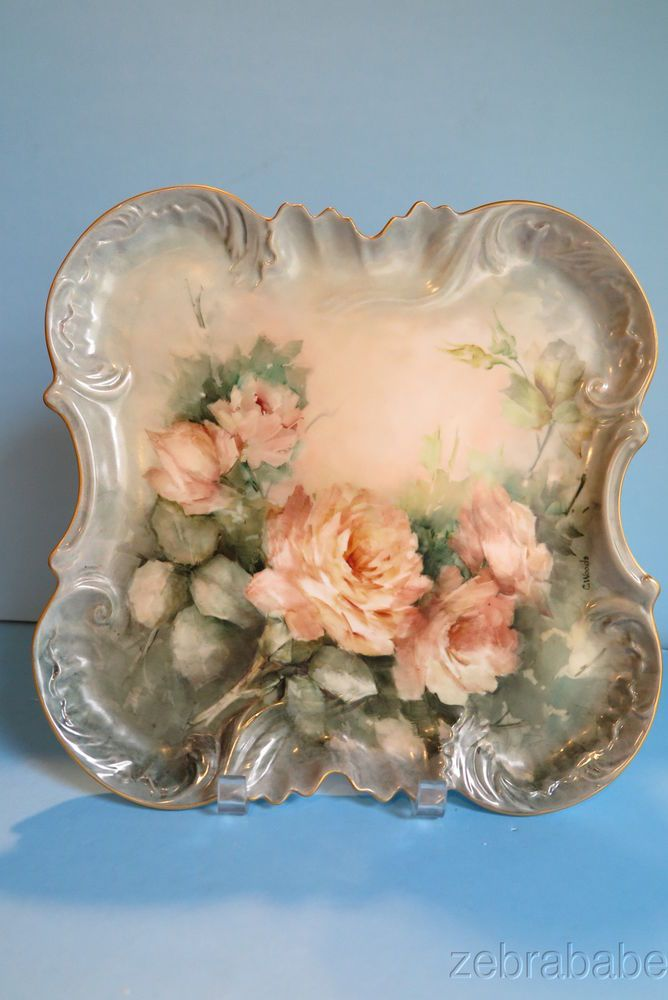 Limoges Hand Painted Platter Artist Signed C Woods Pink Roses Gold Trim
