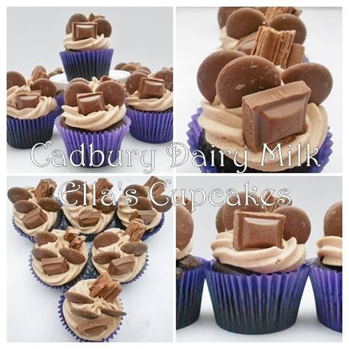 Cadbury Dairy Milk : A rich chocolate cupcake with a Cadbury chocolate butter cream, and topped with Cadbury Flake, Giant Buttons & a chunk of Dairy Milk