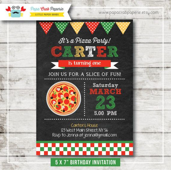 Pizza Chalkboard Birthday Party Invitation / DIY Party Printables / First Brithday / Free Thank You Card (CBI47)