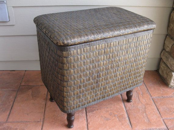 Vintage Sewing Hamper Basket Rattan Wicker Chest