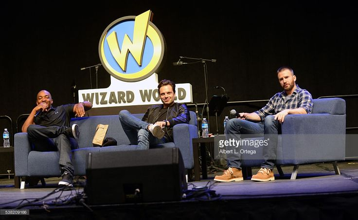 Actors Anthony Mackie, Sebastian Stan and Chris Evans on day 3 of Wizard World Comic Con Philadelphia 2016 held at Pennsylvania Convention Center on June 4, 2016 in Philadelphia, Pennsylvania.