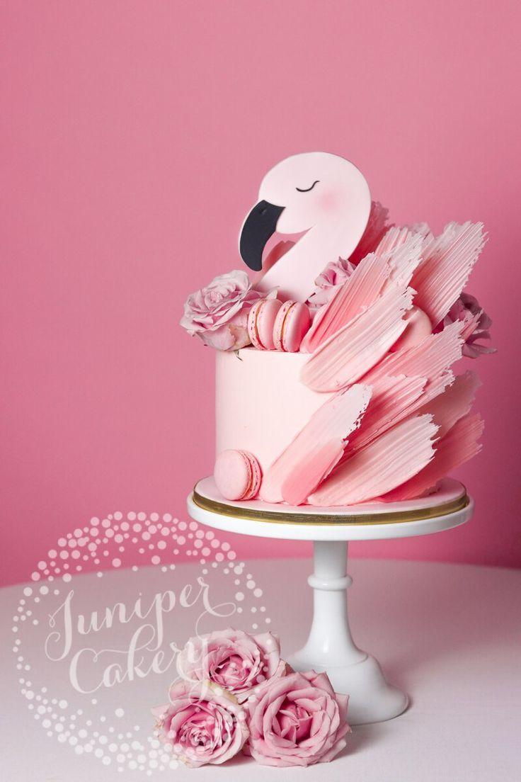 Erröten Sie rosa Flamingo-Kuchen mit Macarons und Rosen! | Geburtstagsparty   – Kuchen