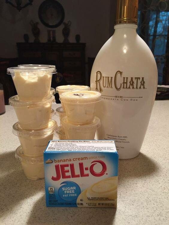 Banana Cream Pudding Shot   1pkg instant banana cream pudding  3/4 c. Skim milk  3/4 c. Rum Chata  1-8oz. Lite whip cream   Whisk milk, alcohol & pudding together Gently whisk whip cream into pudding mixture Spoon into plastic containers and freeze for at least 2 hours.