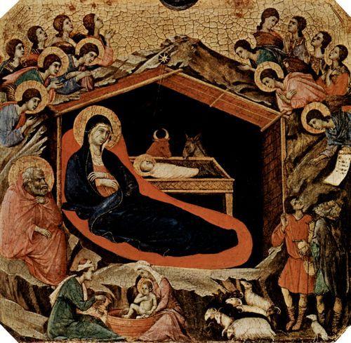 Duccio di Buoninsegna: Maestà, Altarretabel des Sieneser Doms, Vorderseite, Predella mit Szenen aus der Kindheit Jesu und Propheten, Szene: Christi Geburt