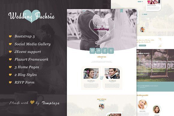 Wedding Fuchsia - Wedding J!Template by templaza on @creativemarket