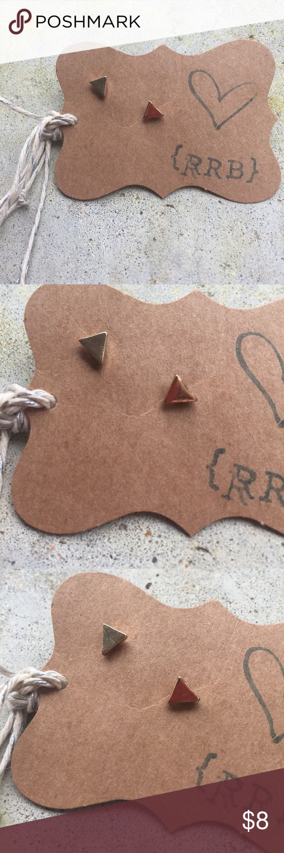 Tiny Gold-tone Triangle Studs These are about the same size as the backs. Very dainty and trendy. Gold-toned. Perfect to help dress up a tee! RRB loves offers but cannot trade at this time. ~{We are ALL beautiful.}~ Jewelry Earrings