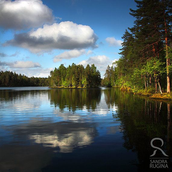 Square photo  Typical Finland lake and forest by behindmyblueeyes