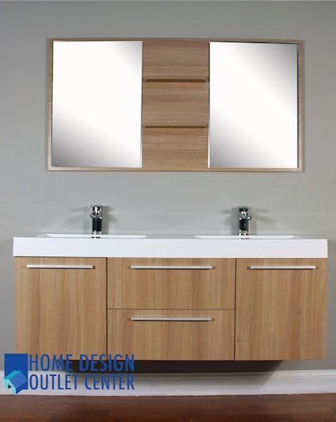 At 8047 Lo 54 Double Modern Bathroom Vanity Set Light Oak Homedesignoutletcenter 995 Bathrooms Pinterest Lighting
