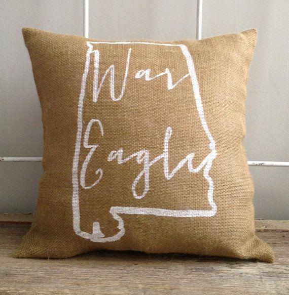 Auburn University burlap pillow- War Eagle, Auburn University, Custom Made to Order on Etsy, $29.00