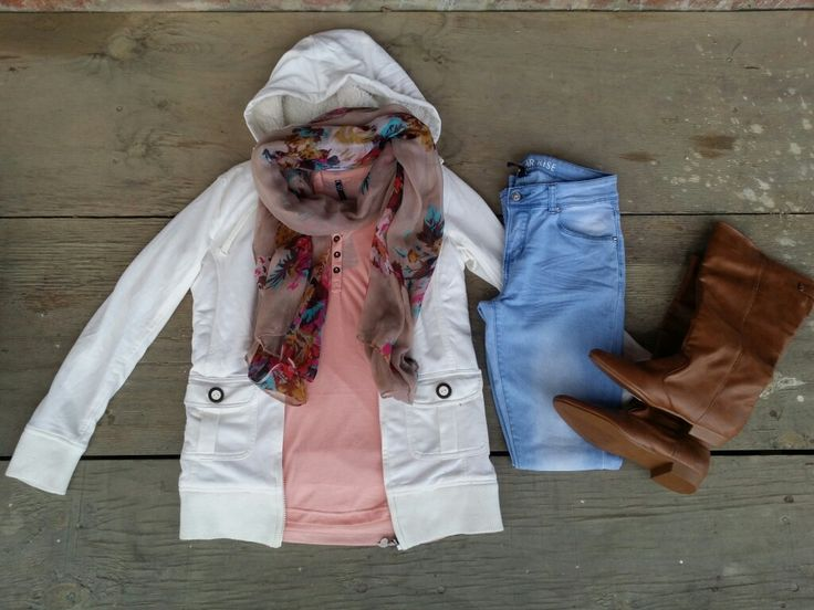 White hoodie, coral top, skinny jeans, floral scarf, tan boots #ootd #fashion #whatiwore #mystyle #mylook #mylookbook #outfitinspiration #fashionflatlay