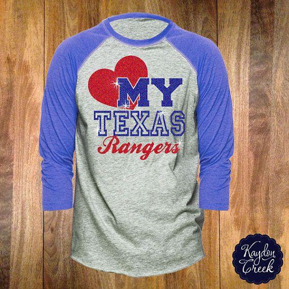 I want this !!!!!! So cute !!!! Love My Texas Rangers Raglan in Glitter on Etsy, $34.00