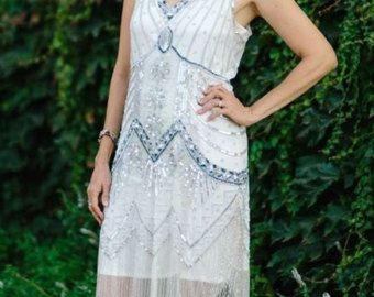 jaren 1920 ivory Silver Beaded Starlight Flapper jurk - S, m, L, XL of Plus maten