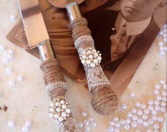 Servidor de pastel de bodas elegante de país y cuchillo conjunto
