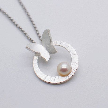 Best 25 silver pendant necklace ideas on pinterest womens handmade sterling silver butterfly with natural pearl pendantnecklace handmade silver pendant handmade silver jewelry mozeypictures Gallery