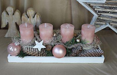 Adventsgesteck, Adventskranz, Weihnachten Advent länglich, natur rosa Landhaus