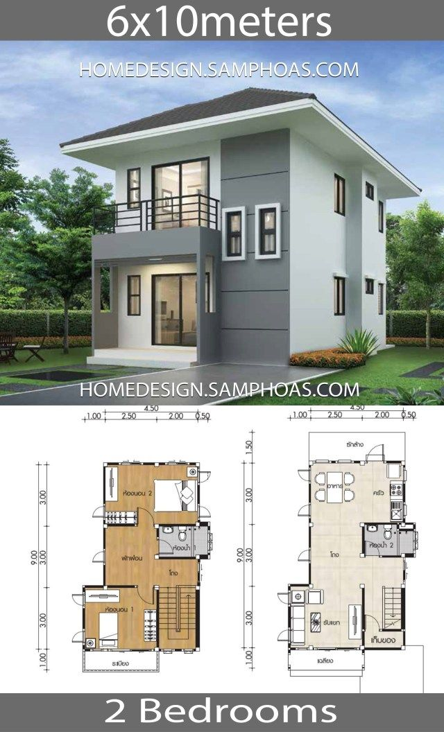 Small Home Design Plans 6x10m With 2 Bedrooms Home Ideassearch Two Story House Design Architectural House Plans Small House Design Plans