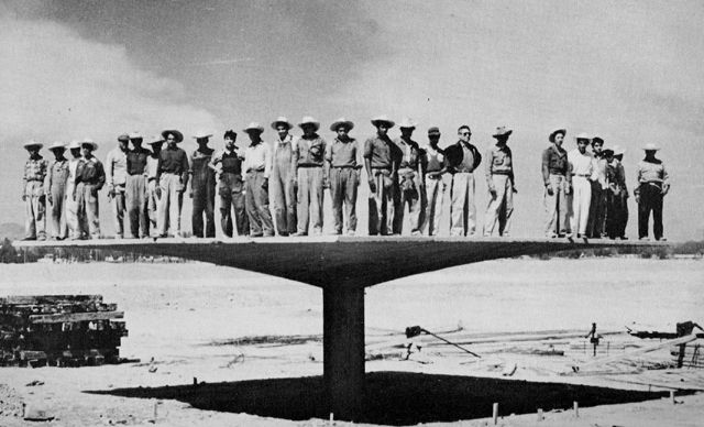 Testing the structural integrity of Felix Candela's  hyberbolic-parabaloid concrete umbrella system, Mexico 1950's.
