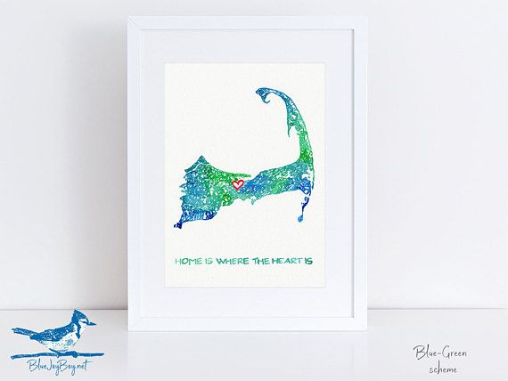 Cape Cod Map Art by Blue Jay Bay - Custom Map of Cape Cod Personalized Map