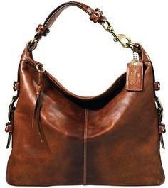 Coach Bleeker Felicia Brown Leather Duffel Hobo Bag