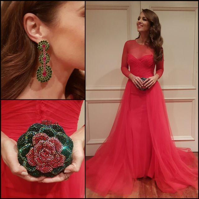 Tras la pista de Paula Echevarría » Premios Goya 2017. Red long sleeved tulle maxi dress+red ankle strap heeled sandals+green and red long earrings+red and green rose sequinned clutch. Winter Evening Event Outfit 2017