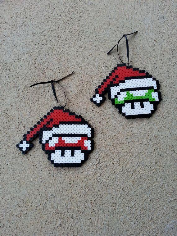 Christmas Ornaments  Mario Mushrooms perler beads by BurritoPrincess