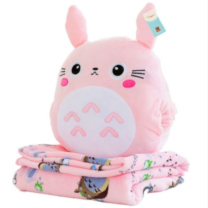 Gray/pink cartoon totoro pillow + blanket SE11021 Use coupon code #cutekawaii for 10% off