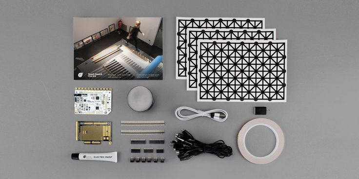 Create interactive projects with the #TouchBoard Pro Kit. The Touch Board Pro Kit includes everything you need to make everything from interactive wallpaper, innovative musical instruments to talking murals with the Touch Board and Electric Paint.