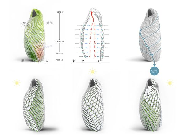 Biomimicry - architectural design based on a chrysalis. Ecological Wall // Polish architecture student Stanislaw Mlynski