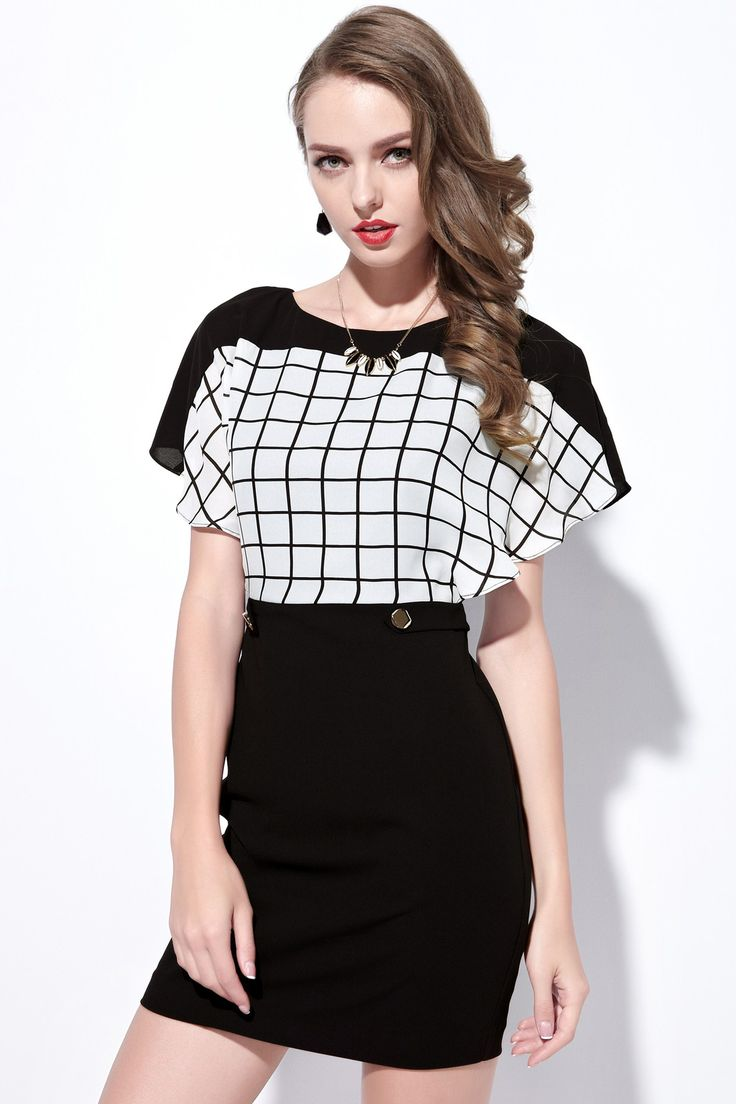 Moonbasa Classic Black and White Check Flounce Dress
