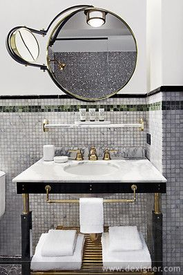 Viceroy New York . . . mirror is a bit much, but the vanity and tile walls are exceptional.